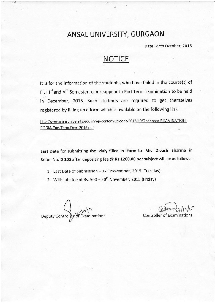 Notice (Reappear-End Term Examination, Dec..2015)
