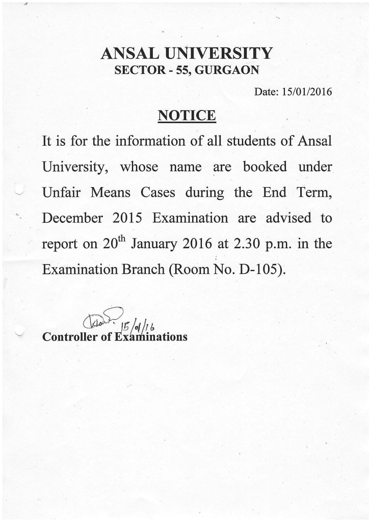 Notice - UMC (Dec2015 Exam-1)