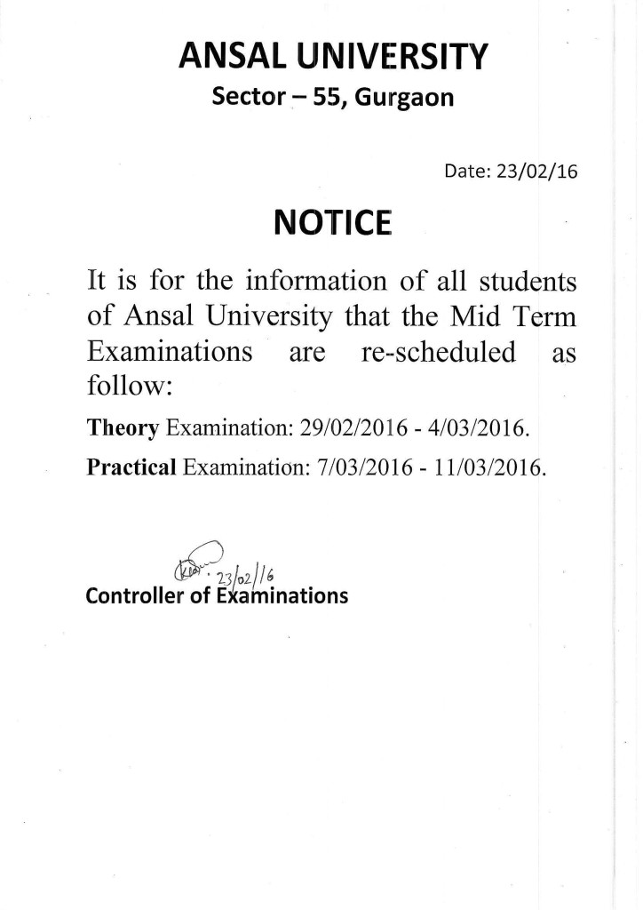 Notice (Re-scheduled Mid Term Exam)